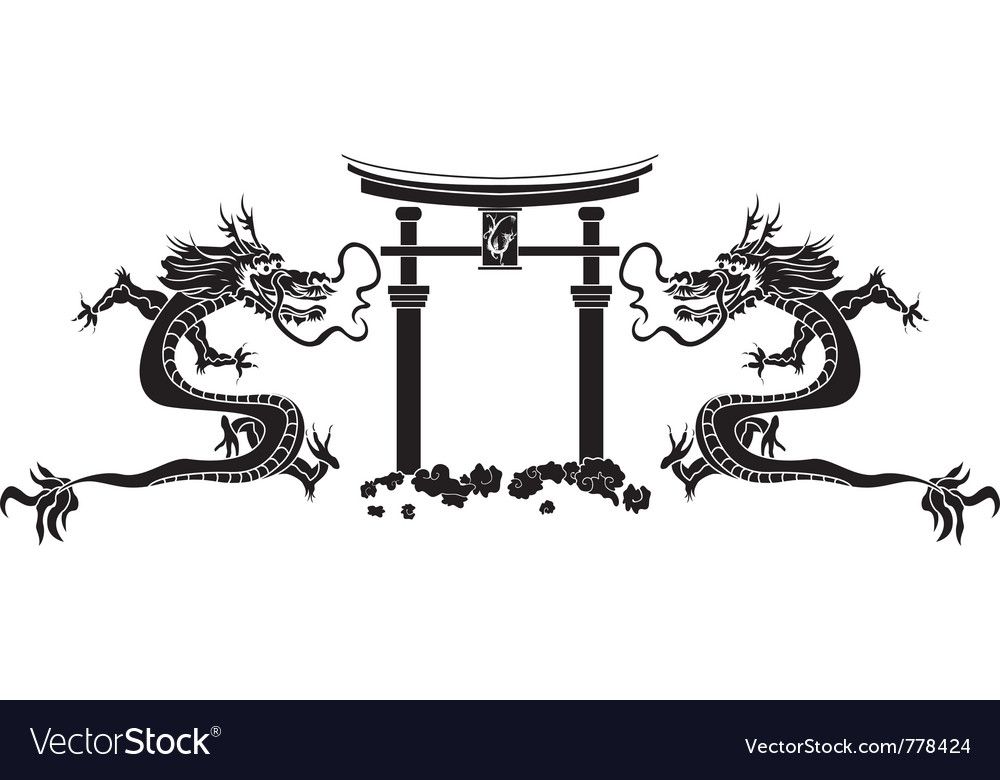 Torii and dragons stencil vector | Price: 1 Credit (USD $1)