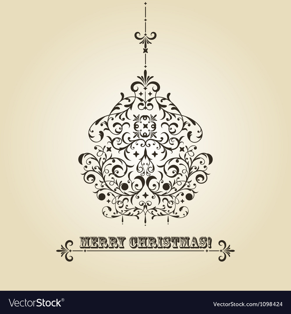 Vintage christmas greeting card vector | Price: 1 Credit (USD $1)