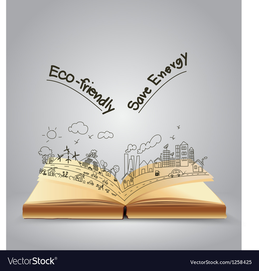 Ecology friendly creative concept drawing on book vector | Price: 1 Credit (USD $1)