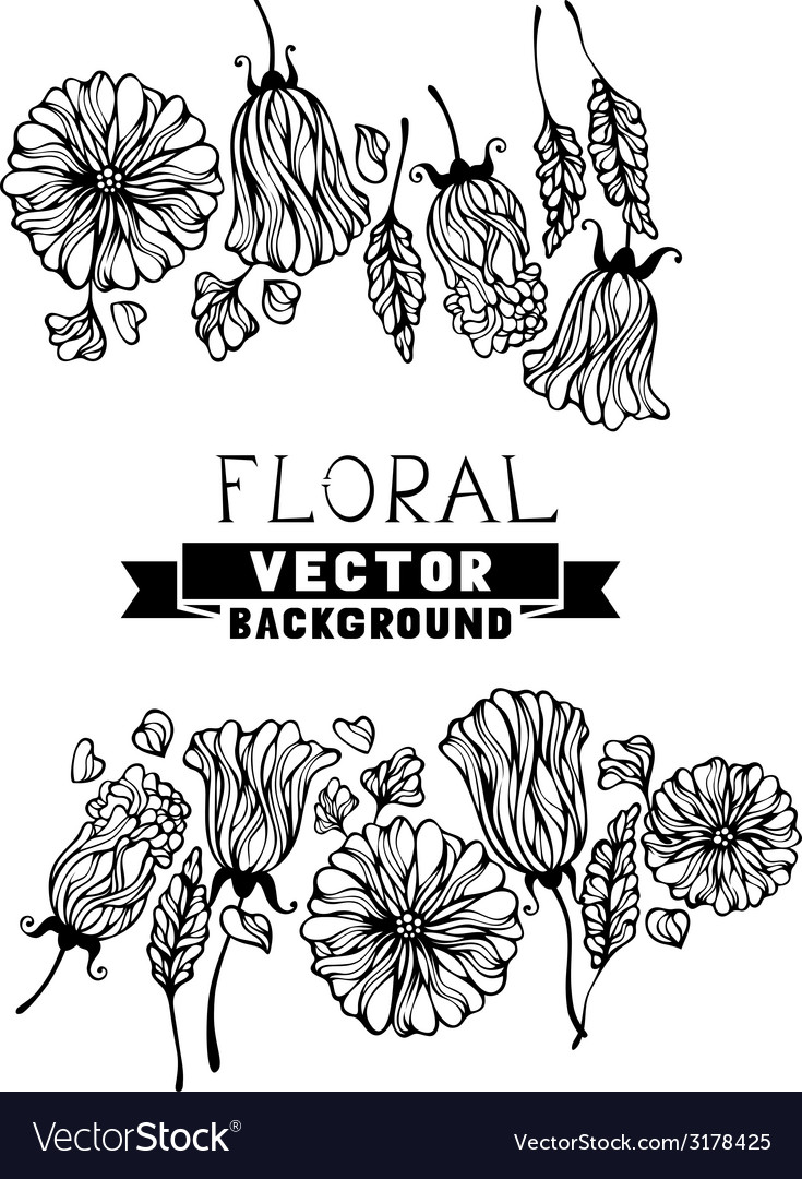 Floral black and white background vector   Price: 1 Credit (USD $1)