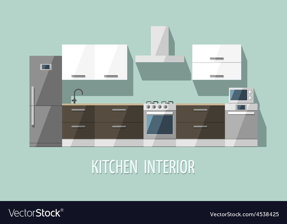 Kitchen furniture modern trendy design vector | Price: 3 Credit (USD $3)
