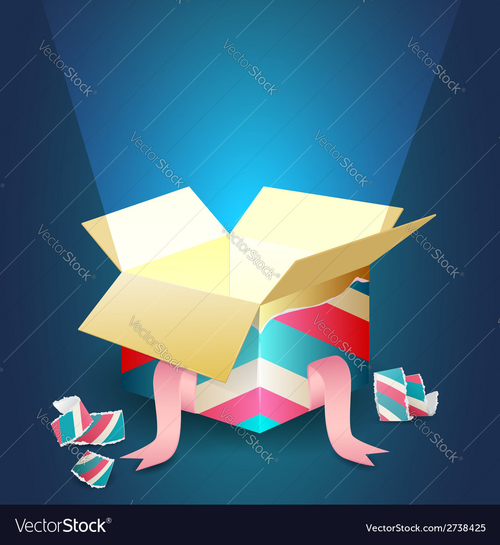 Radiant light coming out from an open gift box vector | Price: 1 Credit (USD $1)