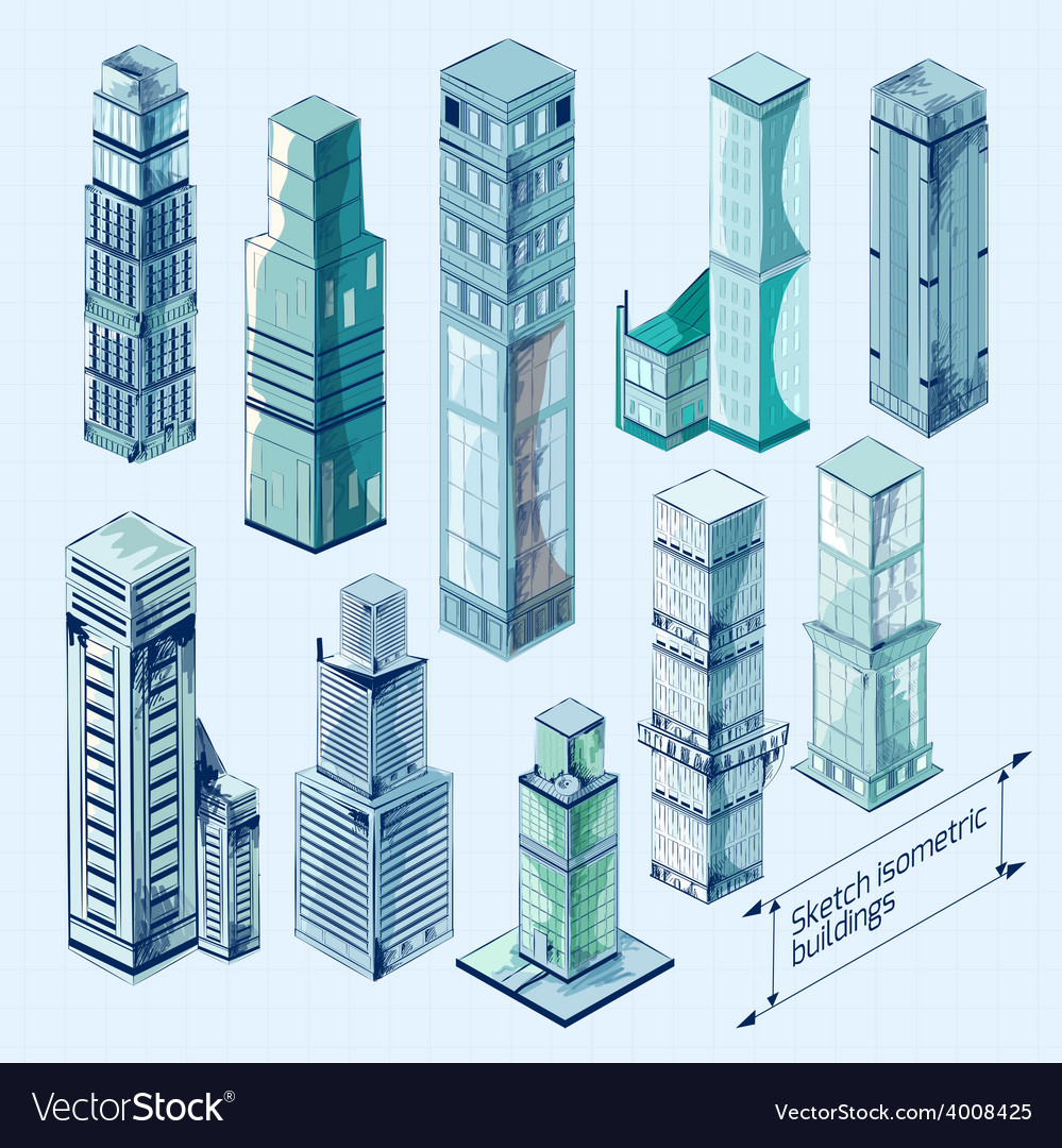 Sketch isometric buildings colored vector | Price: 1 Credit (USD $1)