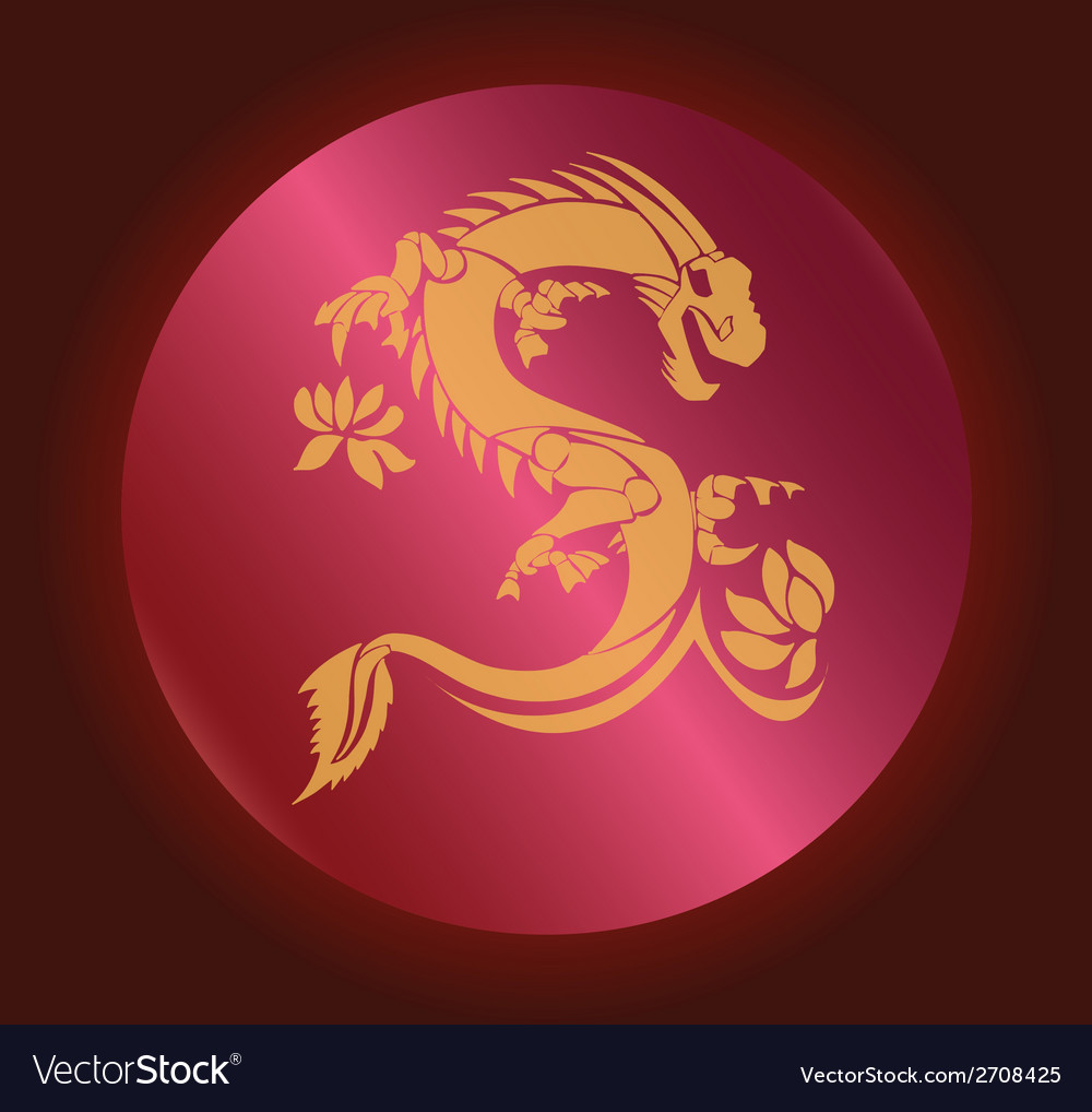 Yellow dragon on red abstract background vector | Price: 1 Credit (USD $1)