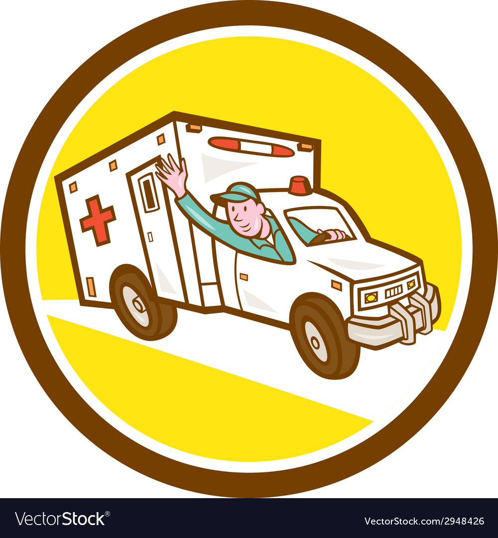 Ambulance emergency vehicle cartoon vector | Price: 1 Credit (USD $1)