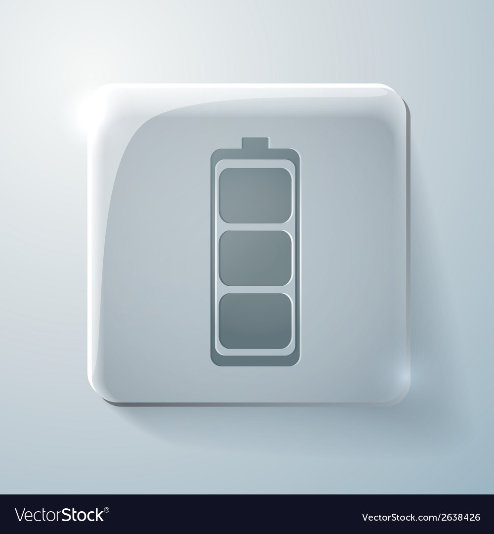 Charged battery glass square icon vector | Price: 1 Credit (USD $1)