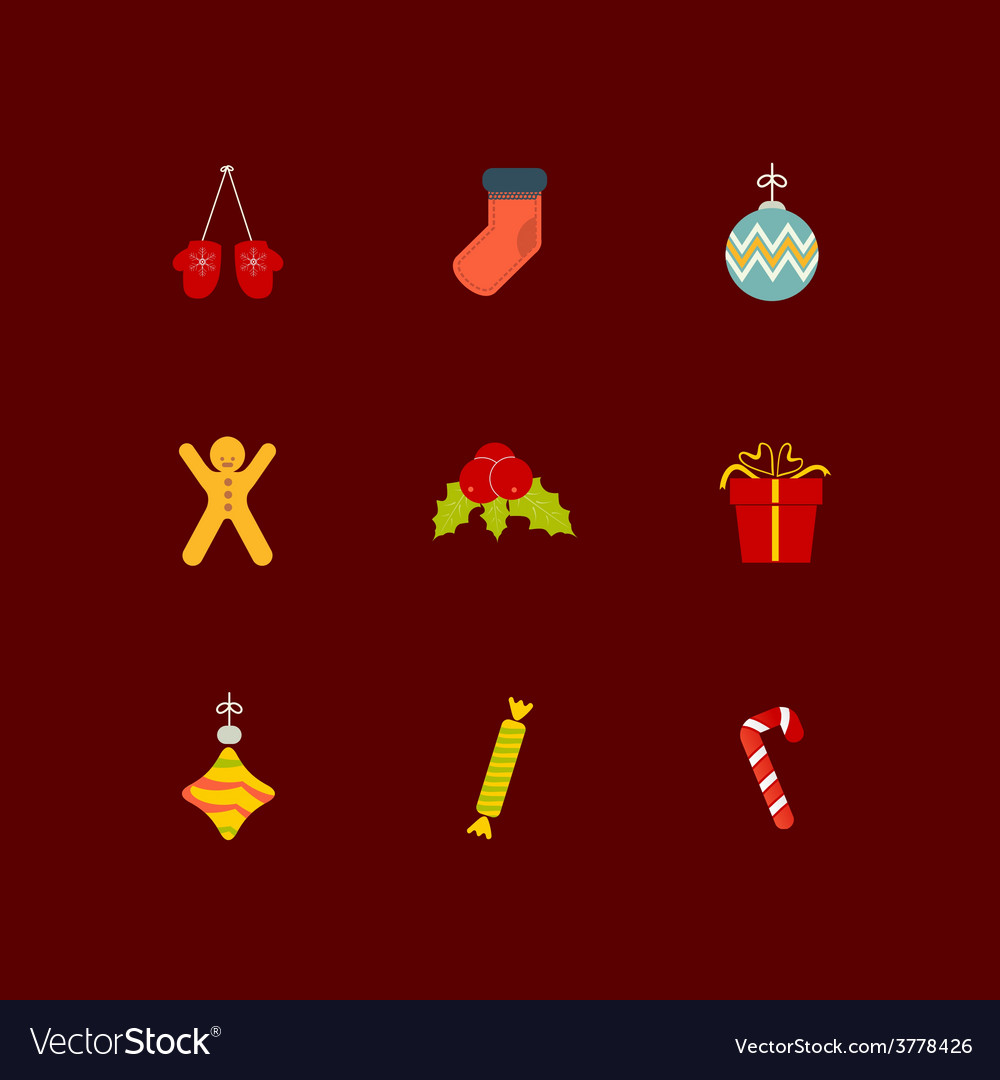Christmas icon set of nine flat style vector   Price: 1 Credit (USD $1)