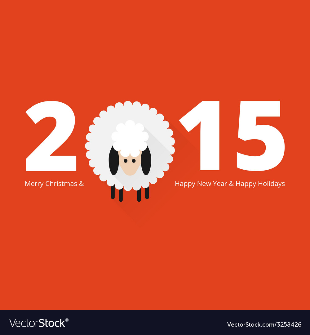 Christmas sheep greeting card vector | Price: 1 Credit (USD $1)