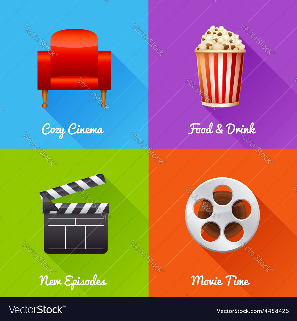 Cinematography set of square movie banners vector | Price: 1 Credit (USD $1)