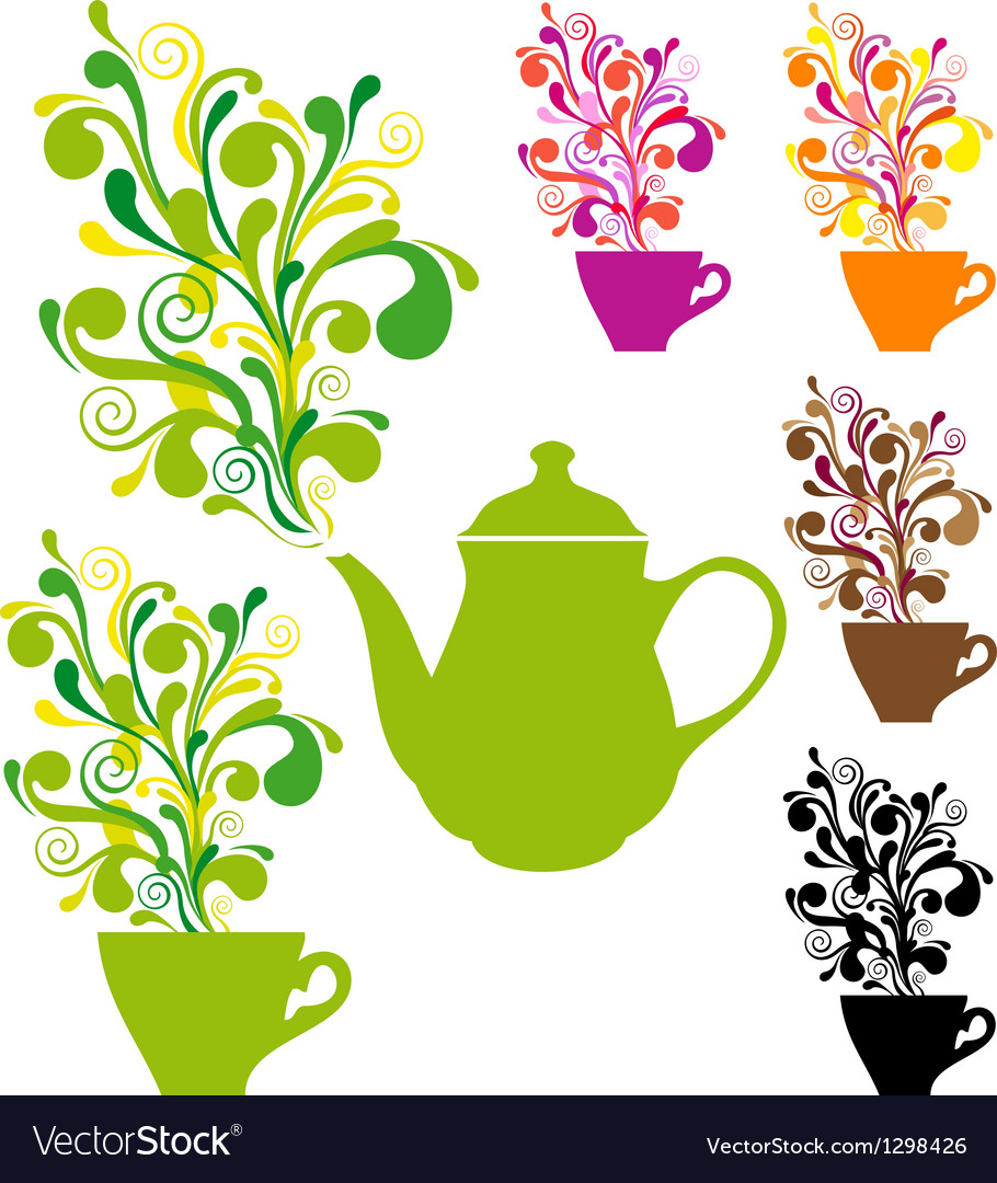 Coffee and tea with colorful swirls vector | Price: 1 Credit (USD $1)