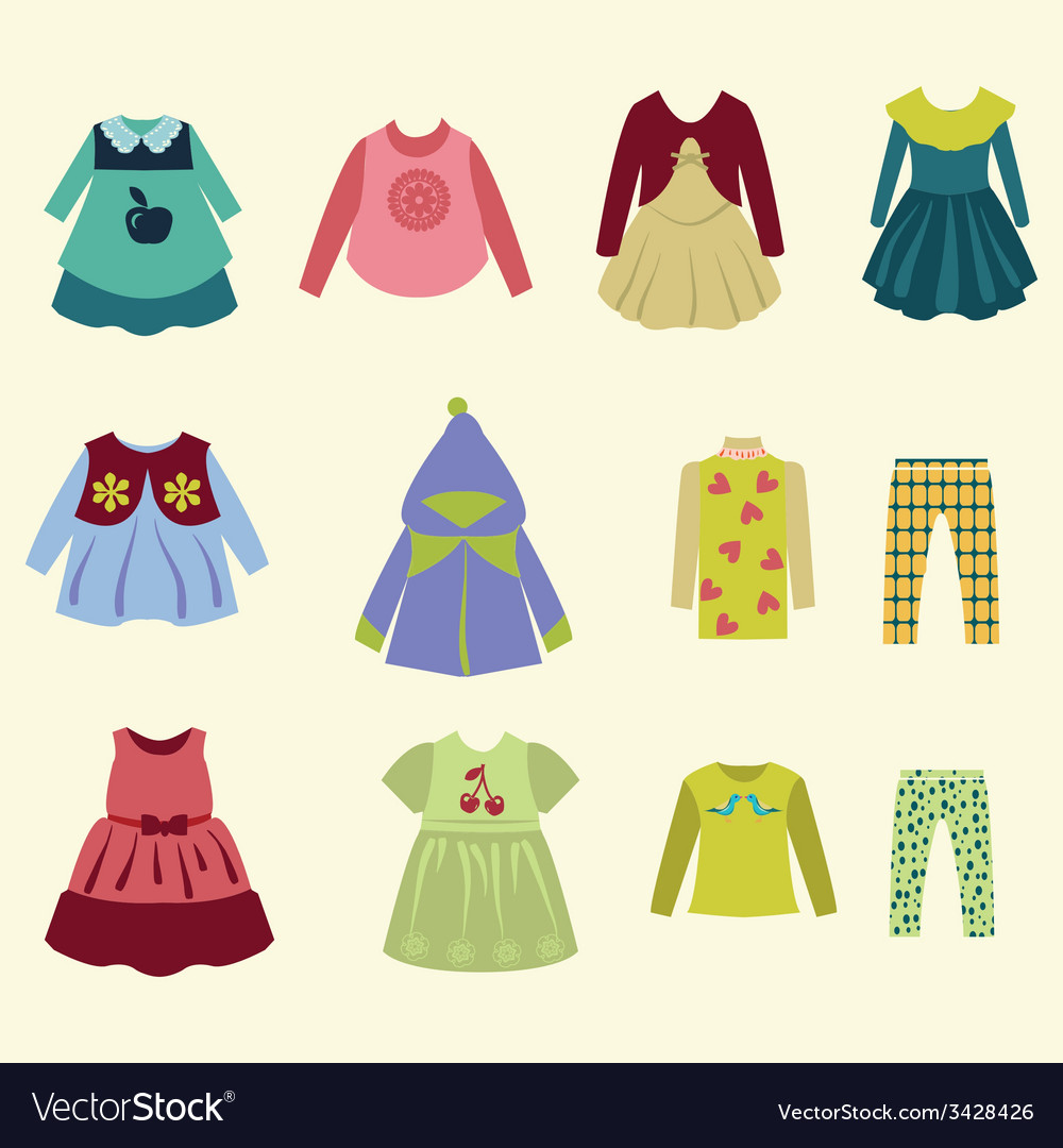 Collection of children clothing - vector | Price: 1 Credit (USD $1)
