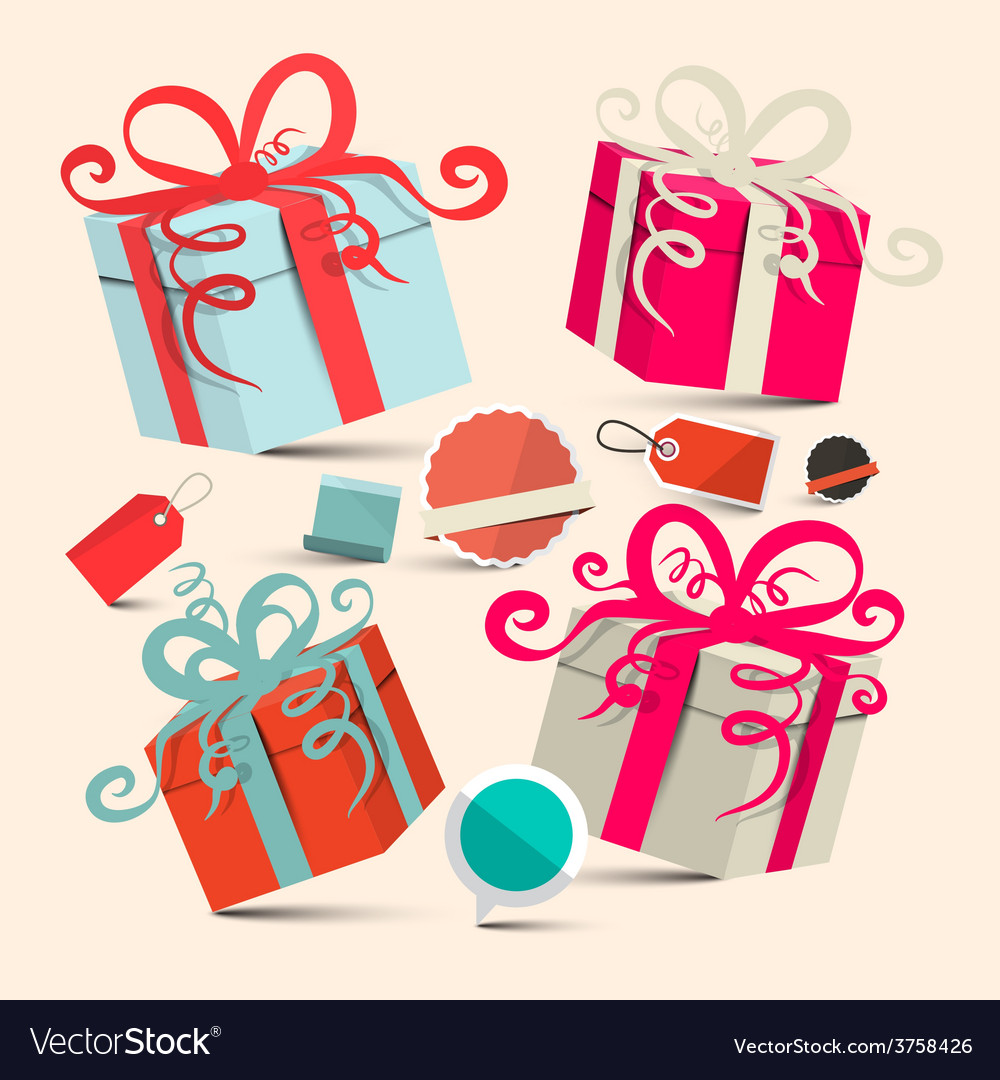 Gift boxes set with empty labels - retro vector | Price: 1 Credit (USD $1)