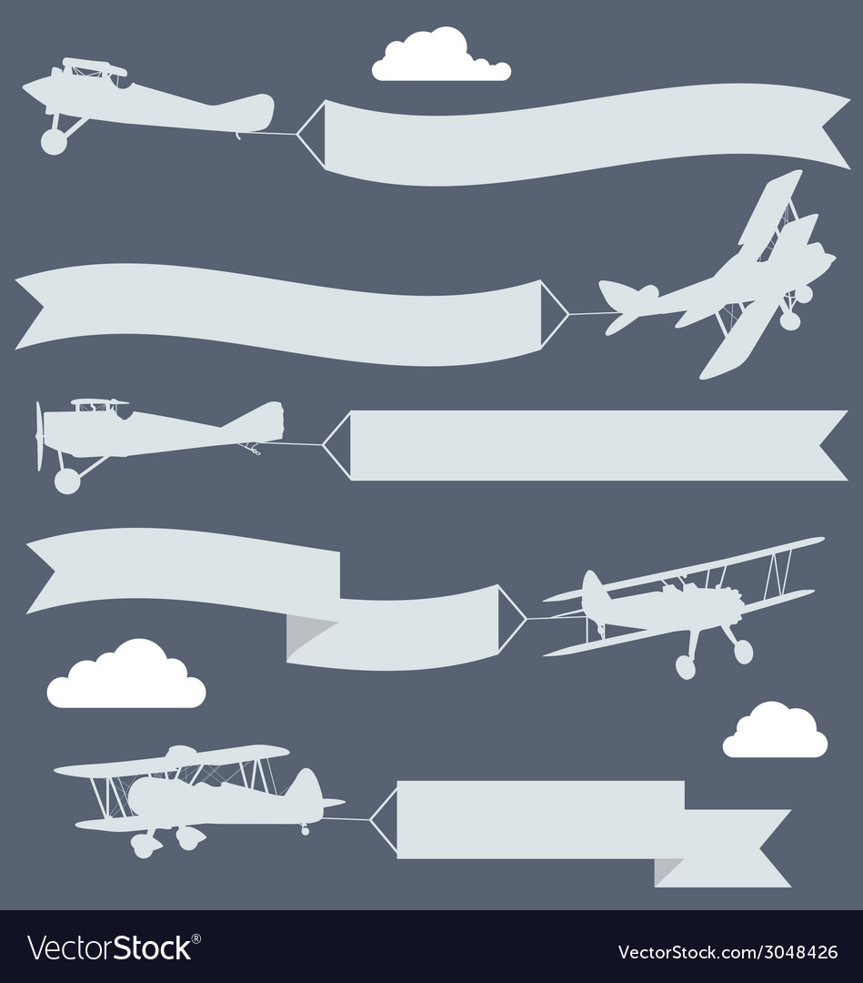 Silhouettes of biplanes with wavy greetings banner vector