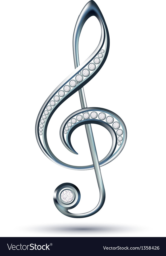 Silver treble clef with diamonds vector | Price: 1 Credit (USD $1)