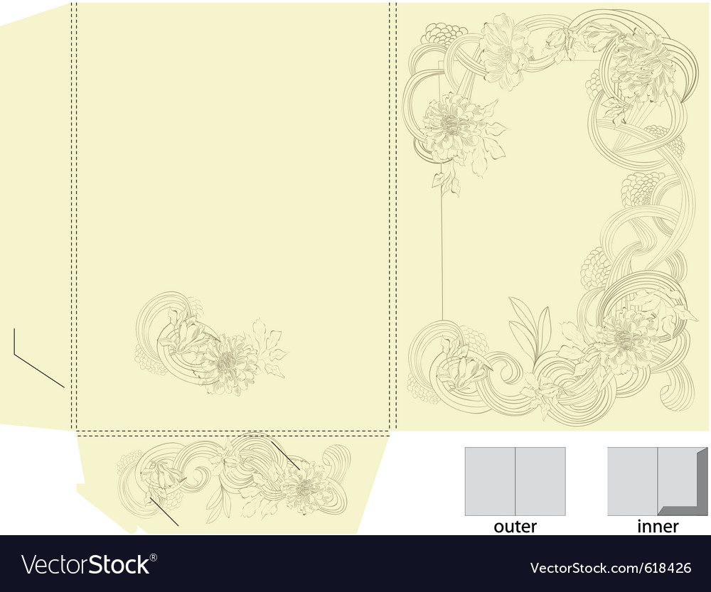 Template for folder with floral element vector | Price: 1 Credit (USD $1)