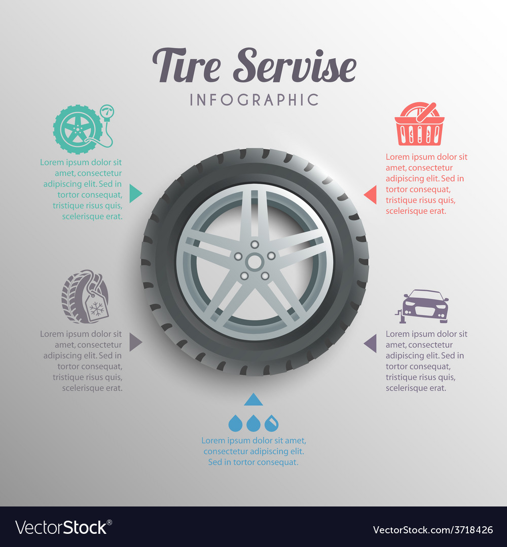 Tire service infographics vector | Price: 1 Credit (USD $1)