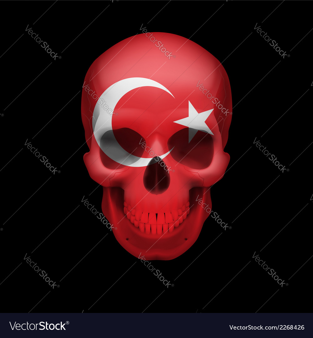 Turkish flag skull vector | Price: 1 Credit (USD $1)
