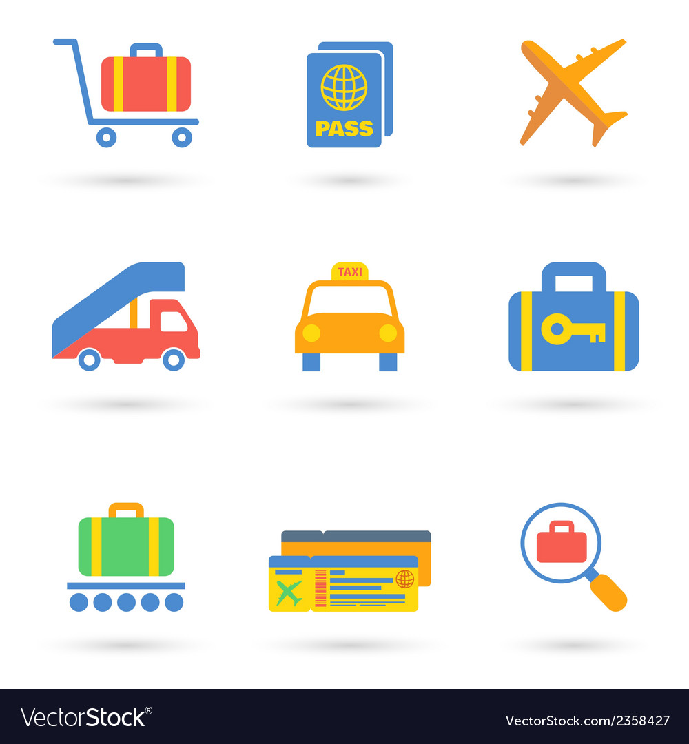 Airport icons flat vector | Price: 1 Credit (USD $1)