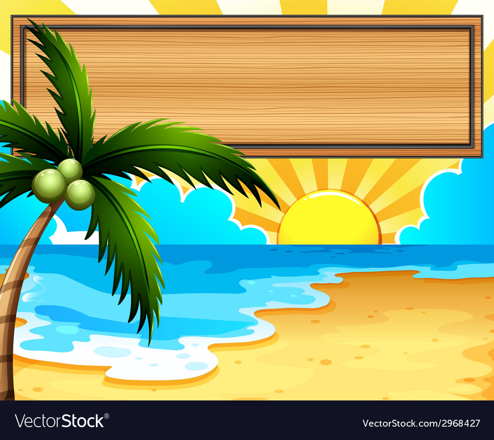 An empty signboard at the beach with a coconut vector | Price: 1 Credit (USD $1)