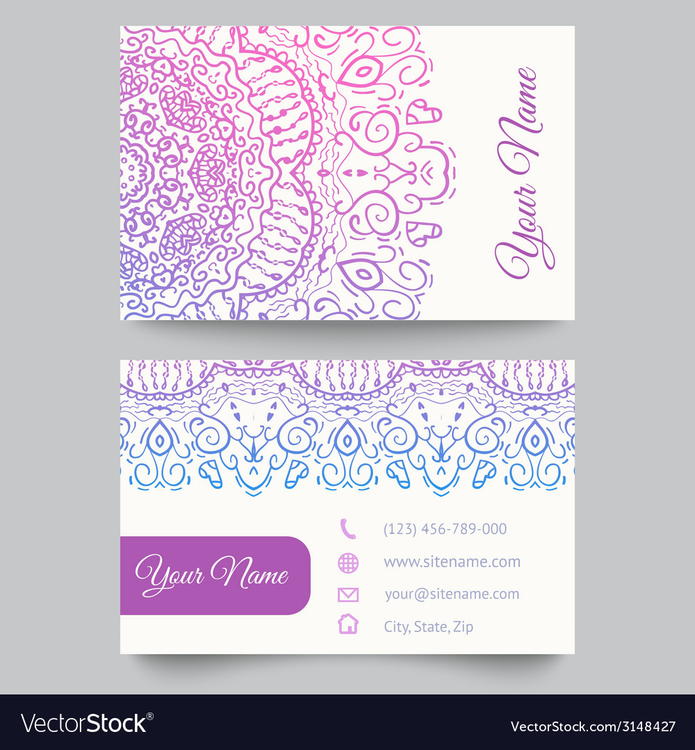 Business card template purple and white beauty vector | Price: 1 Credit (USD $1)