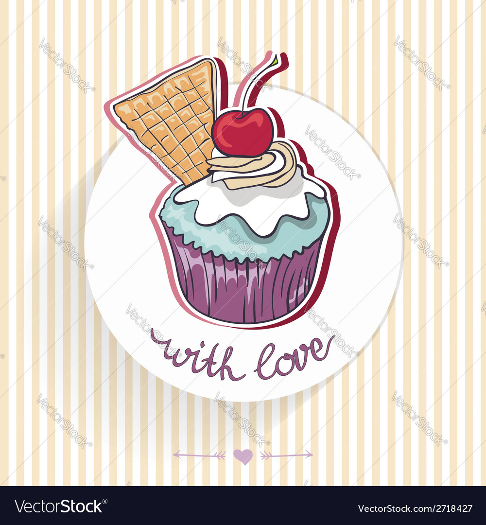 Card with a cupcake vector | Price: 1 Credit (USD $1)
