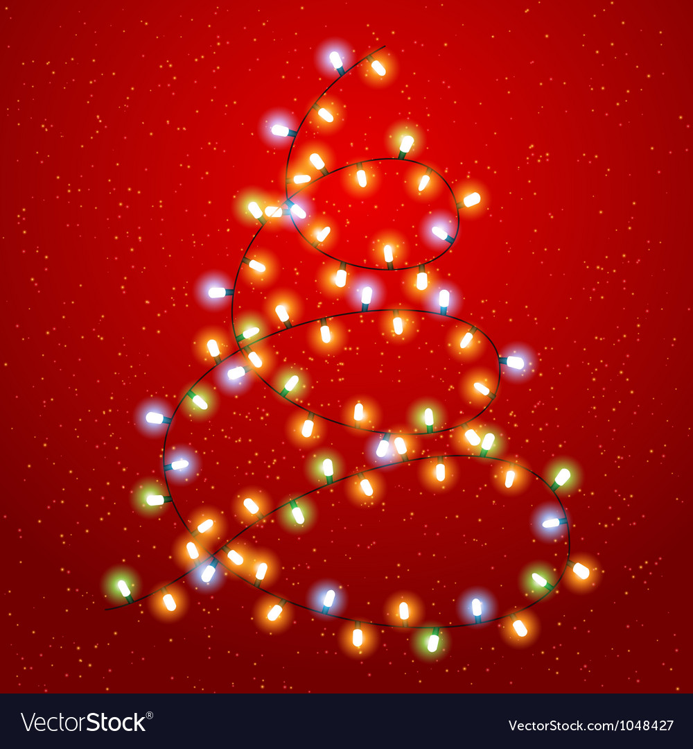 Christmas tree lights background vector | Price: 1 Credit (USD $1)