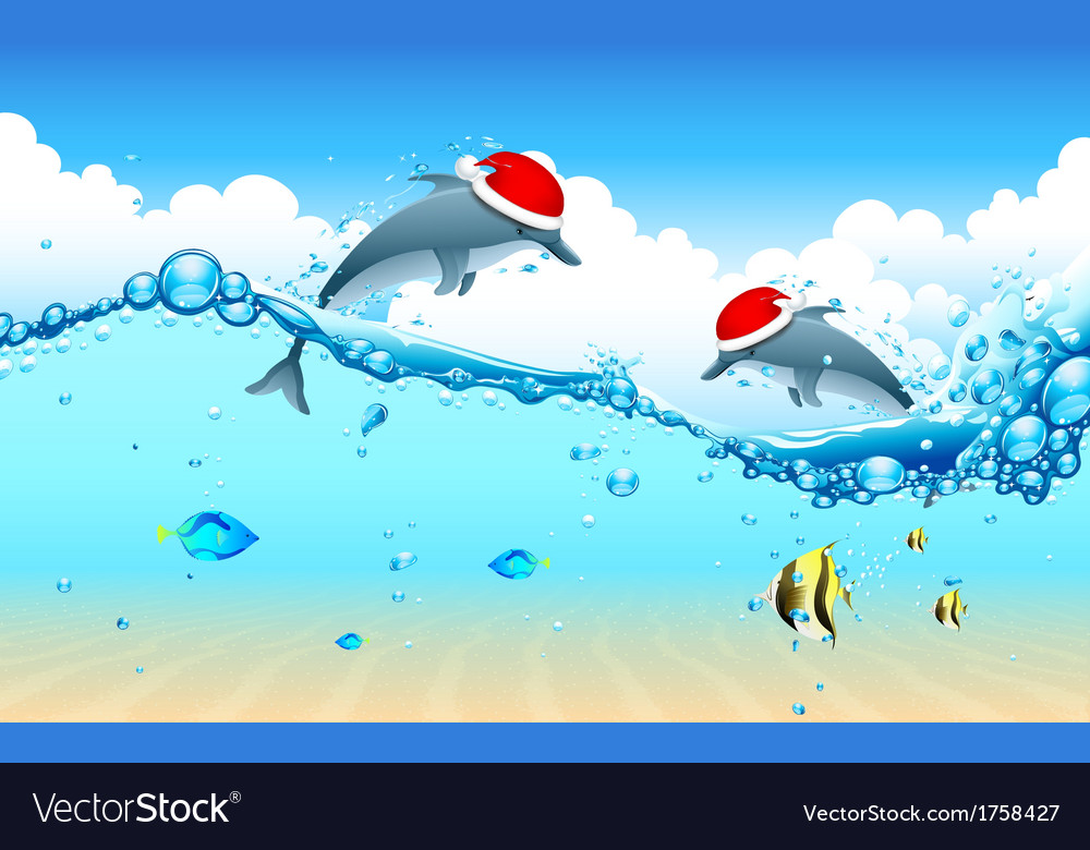 Dolphin celebrating christmas vector | Price: 3 Credit (USD $3)