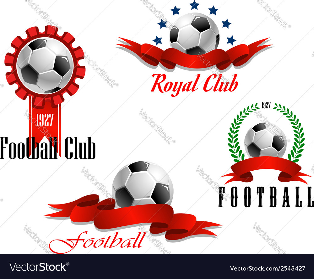 Four football and soccer emblems vector | Price: 1 Credit (USD $1)
