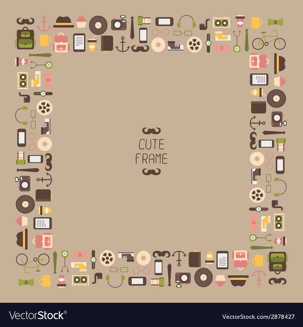 Frame of hipster colorful style elements and icons vector | Price: 1 Credit (USD $1)