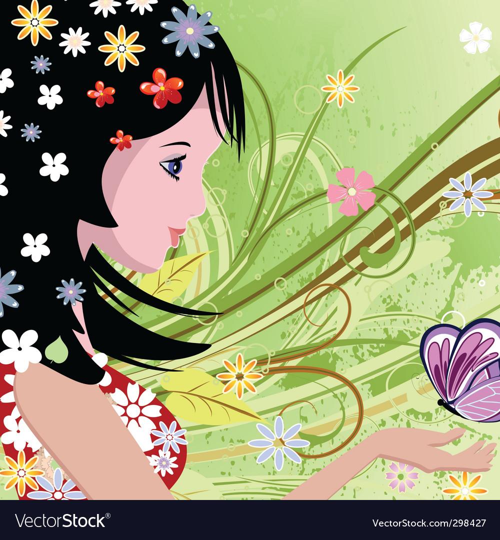 Girl in summer portrait vector | Price: 1 Credit (USD $1)