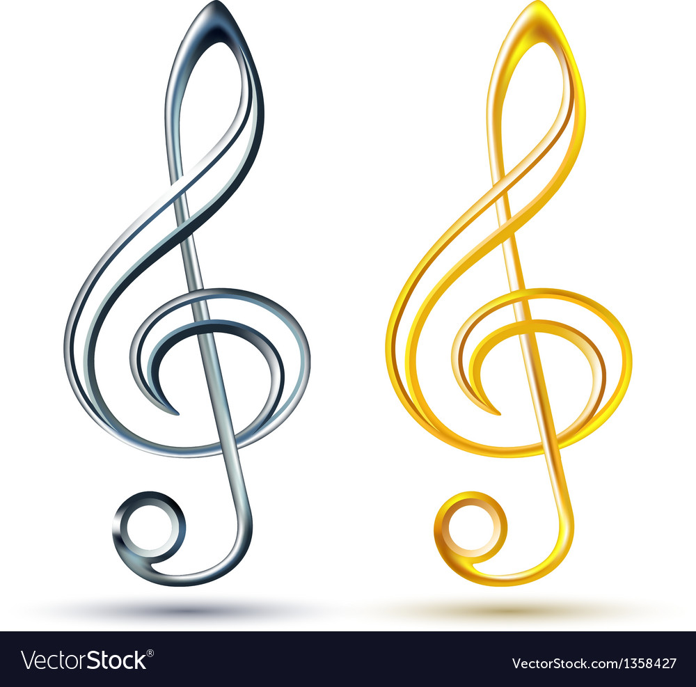 Gold and silver treble clef on white background vector | Price: 1 Credit (USD $1)