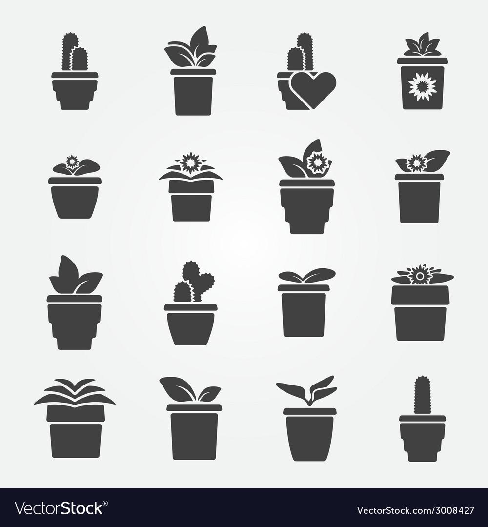 Houseplant icons set vector | Price: 1 Credit (USD $1)