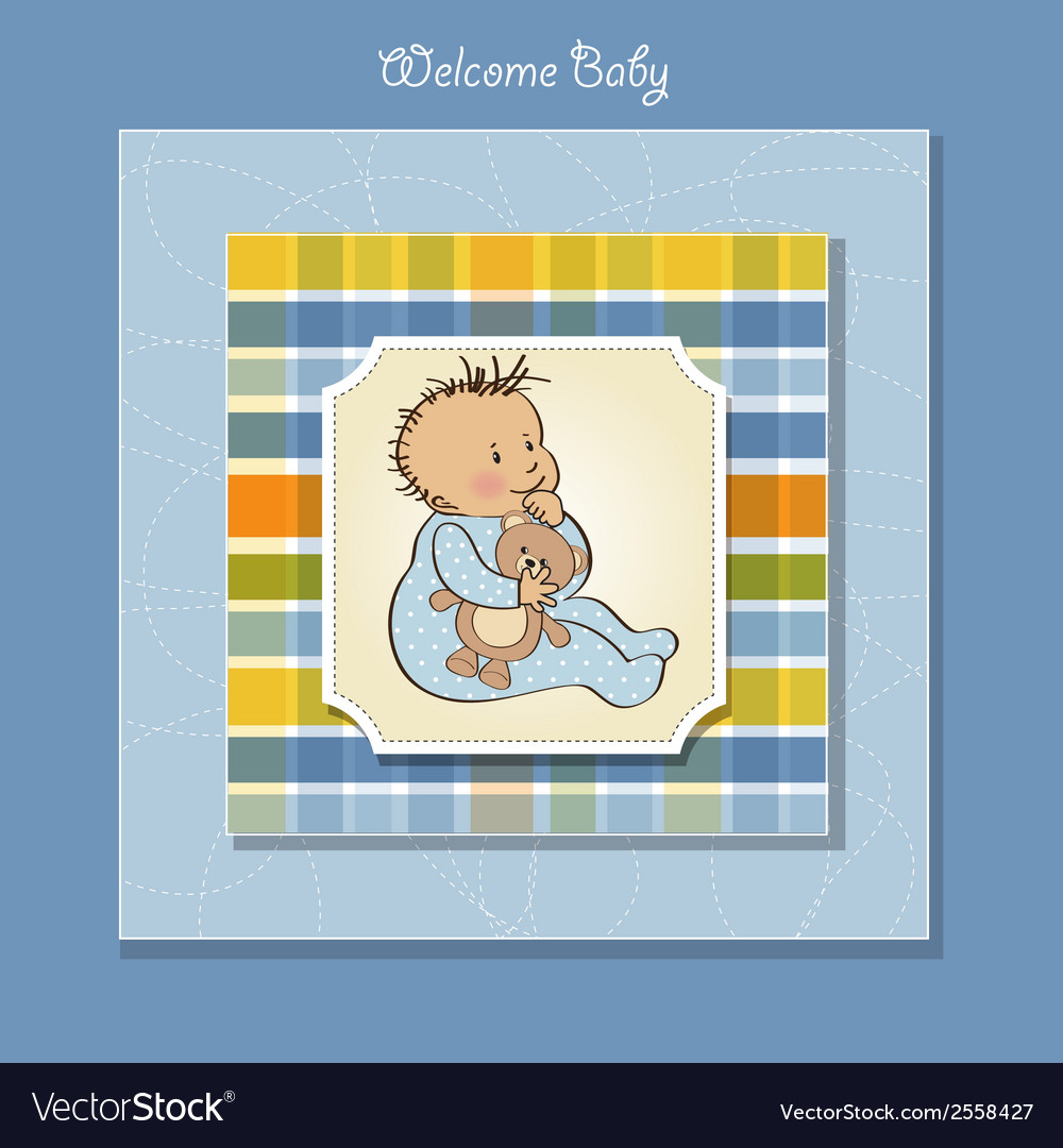 Romantic baby boy shower card vector | Price: 1 Credit (USD $1)