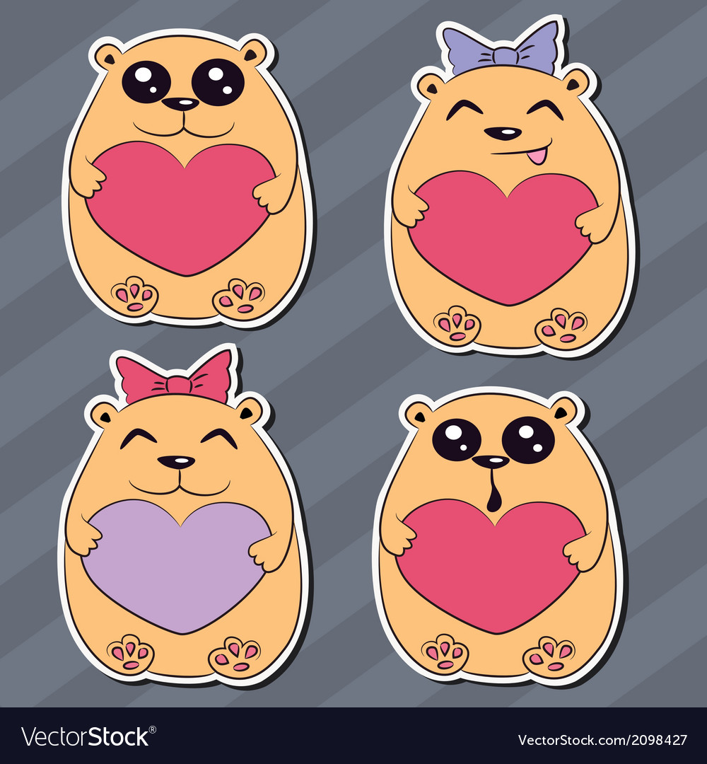 Set of funny animal stickers vector | Price: 1 Credit (USD $1)