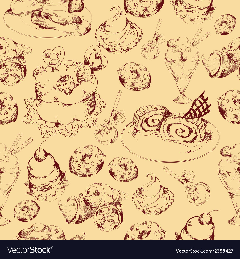 Sweets sketch seamless pattern vector | Price: 1 Credit (USD $1)