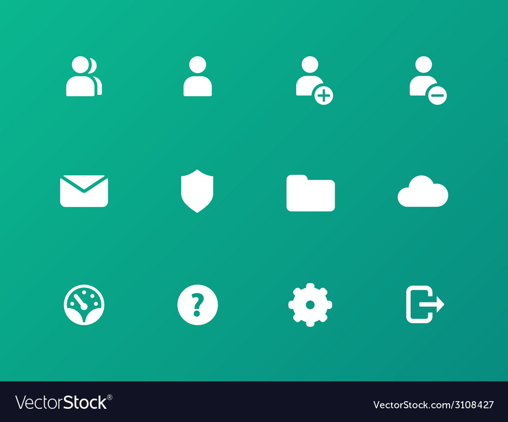 User account icons on green background vector | Price: 1 Credit (USD $1)