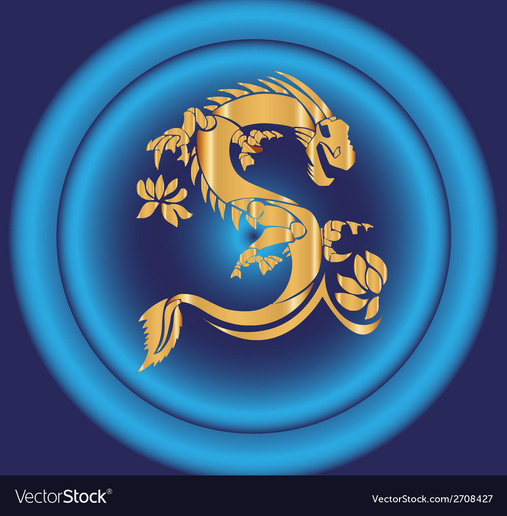 Yellow dragon on blue background vector | Price: 1 Credit (USD $1)