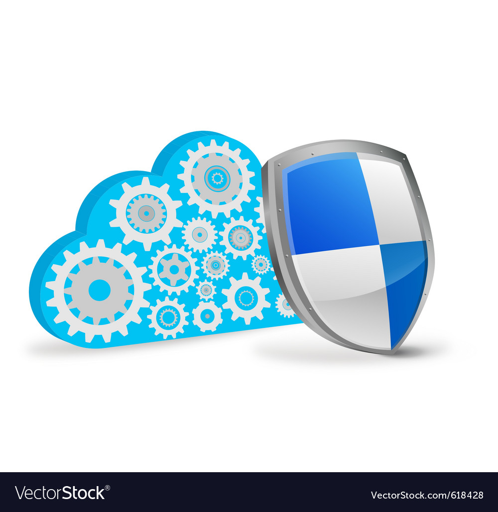 3d cloud computing with protection shield vector | Price: 1 Credit (USD $1)