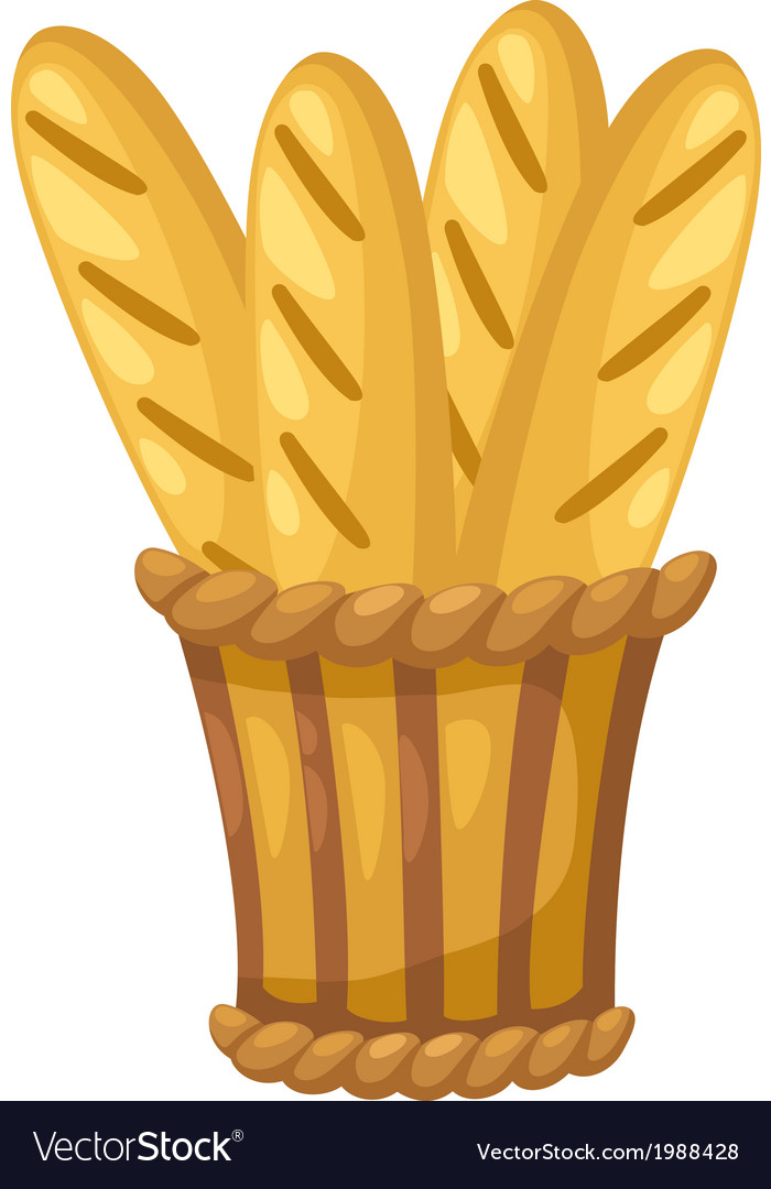 Baguette in basket vector | Price: 1 Credit (USD $1)