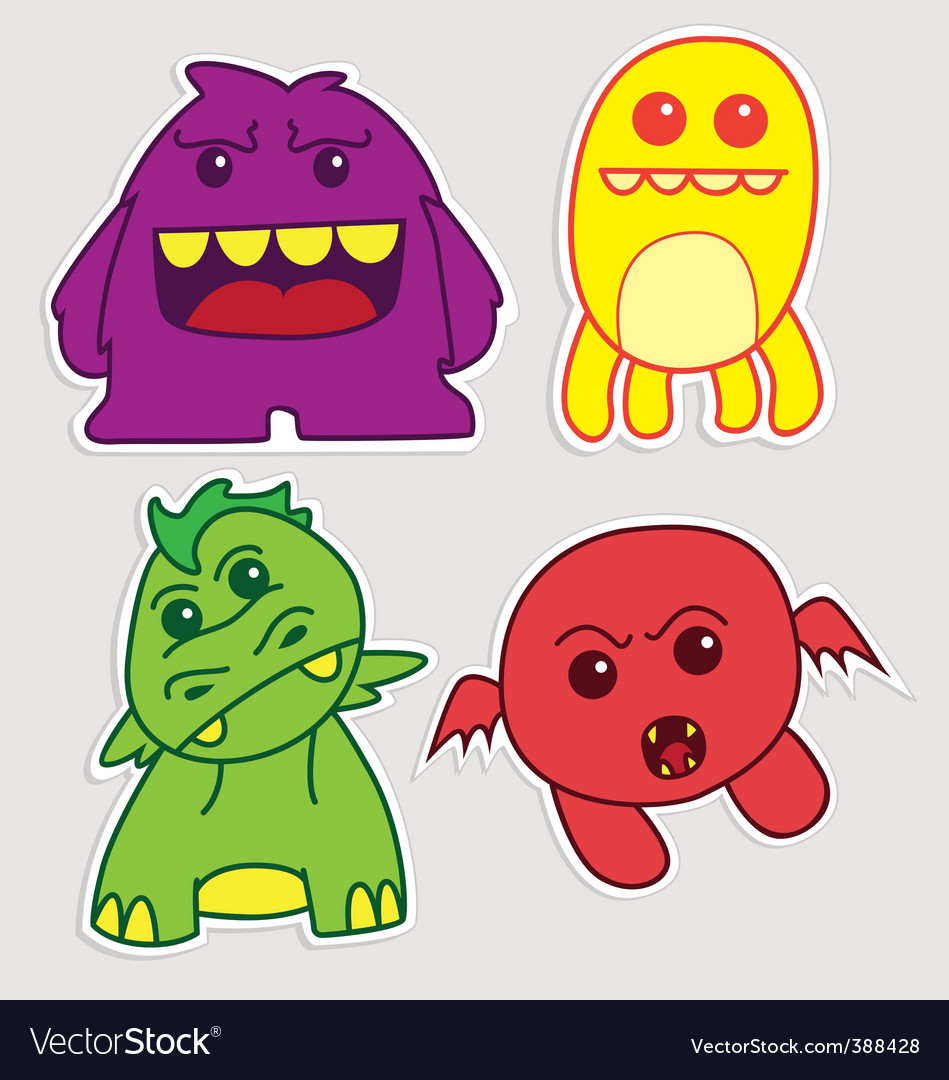 Cartoon monster stickers vector | Price: 1 Credit (USD $1)