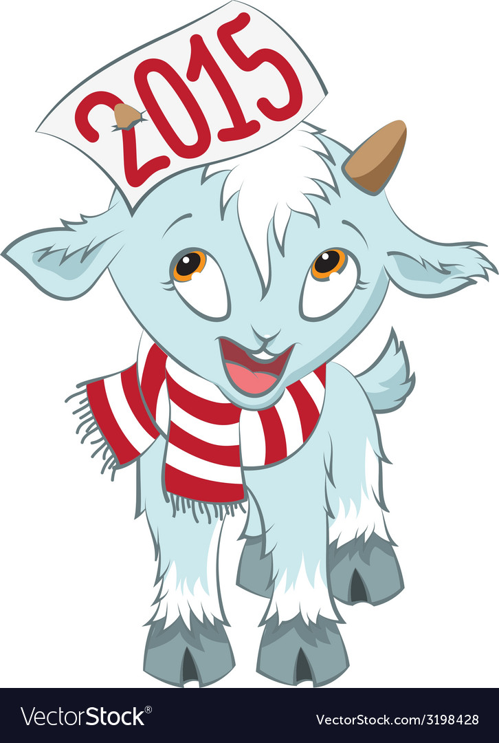 Christmas goat hold on the horn symbol 2015 vector | Price: 1 Credit (USD $1)