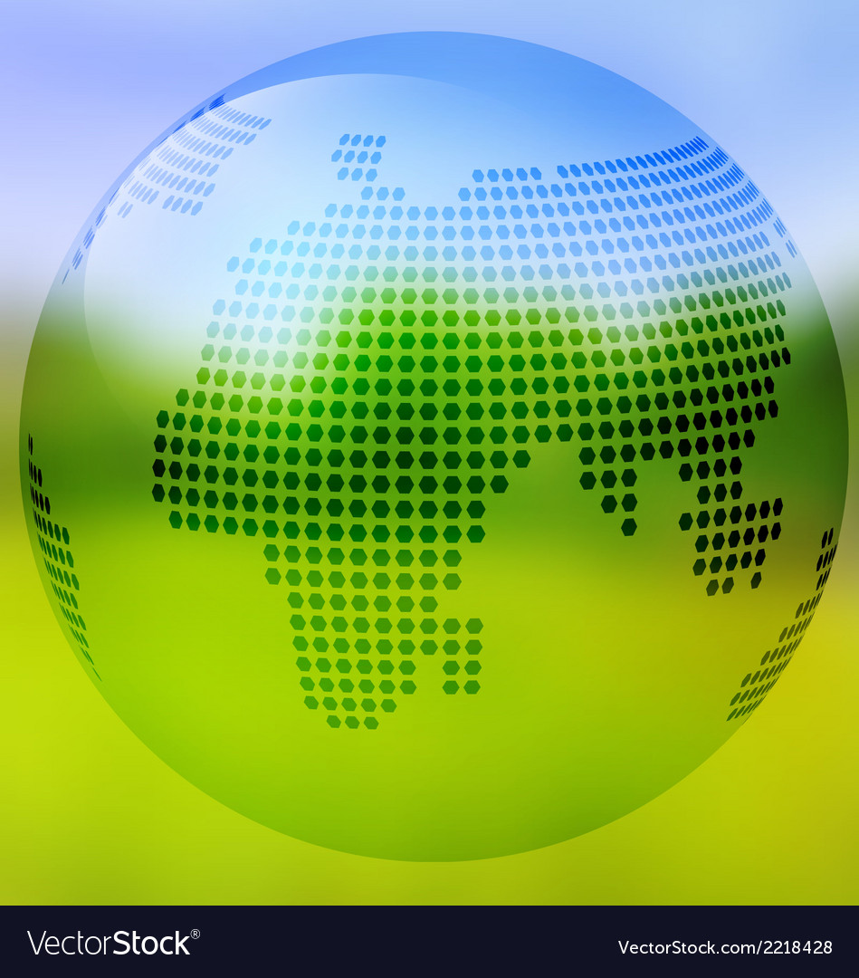 Earth with map on blurred landscape vector | Price: 1 Credit (USD $1)