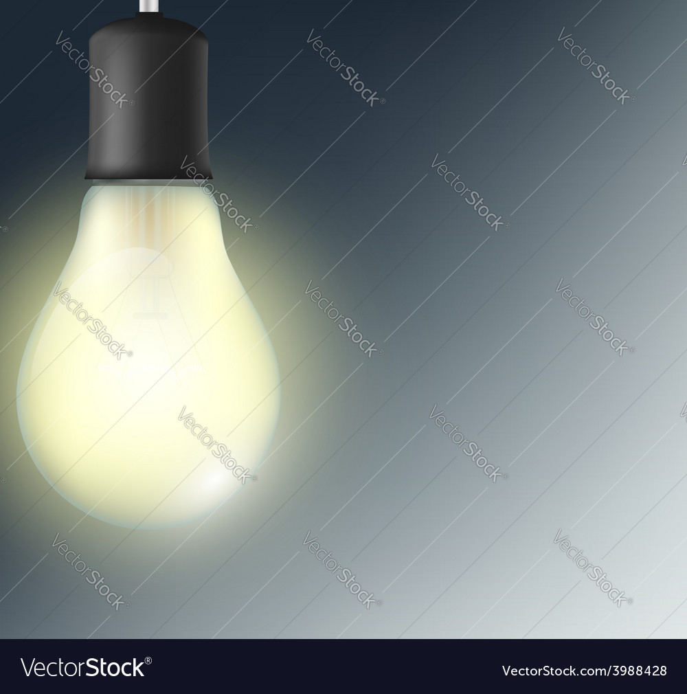 Incandescent lamp on a dark blue background vector   Price: 1 Credit (USD $1)