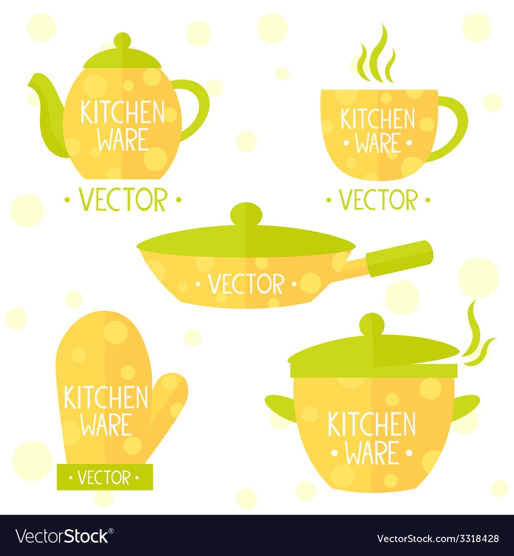 Kitchenware flat set vector | Price: 1 Credit (USD $1)
