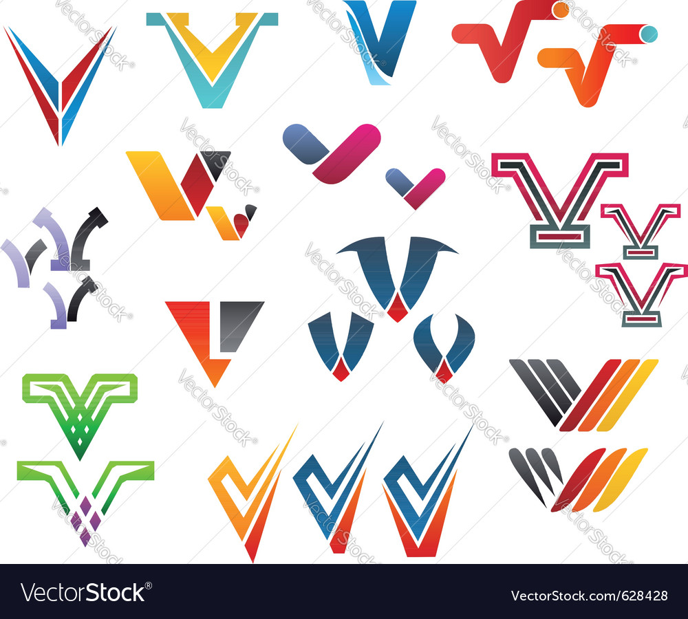 Letter v alphabet symbols vector | Price: 1 Credit (USD $1)