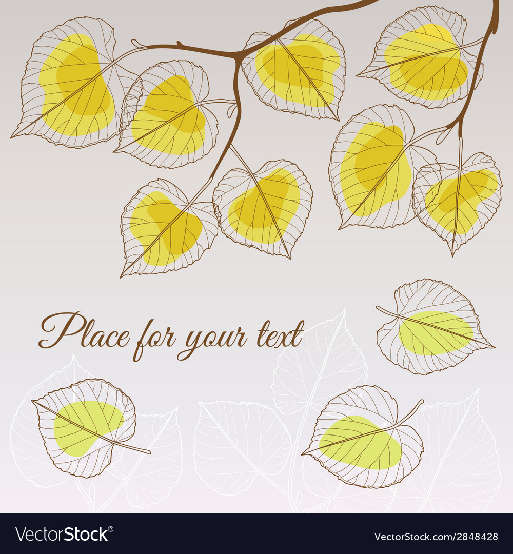 Linden leaf yellow style with place for your text vector | Price: 1 Credit (USD $1)