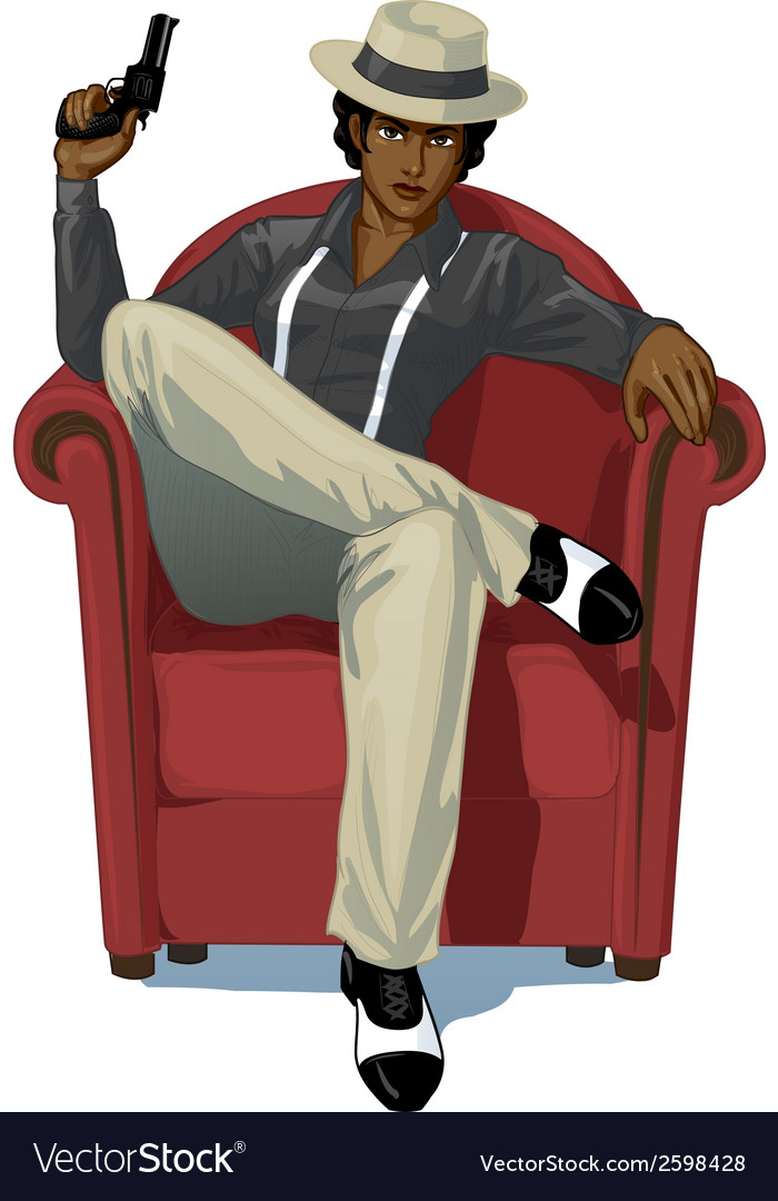 Retro character attractive afroamerican mafioso vector | Price: 3 Credit (USD $3)