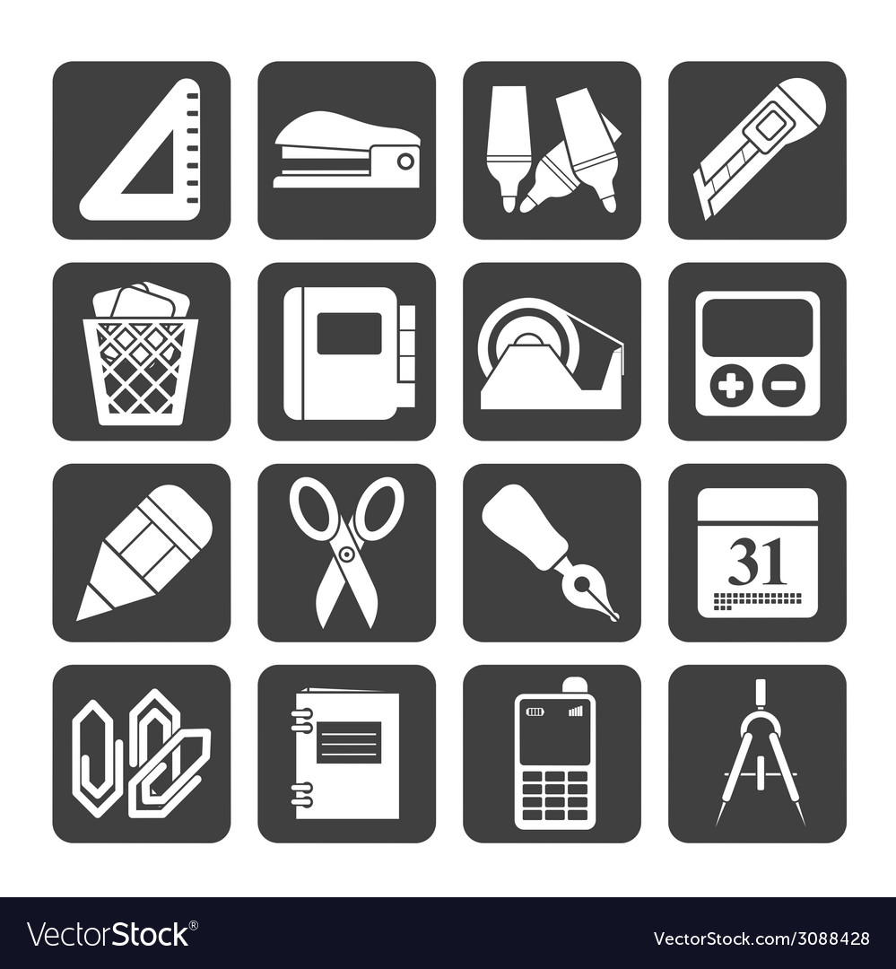 Silhouette business and office objects icons vector | Price: 1 Credit (USD $1)