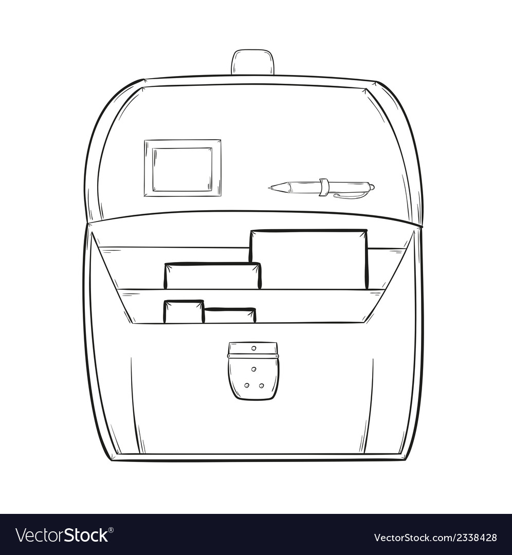 Sketch of the open briefcase with documents vector | Price: 1 Credit (USD $1)