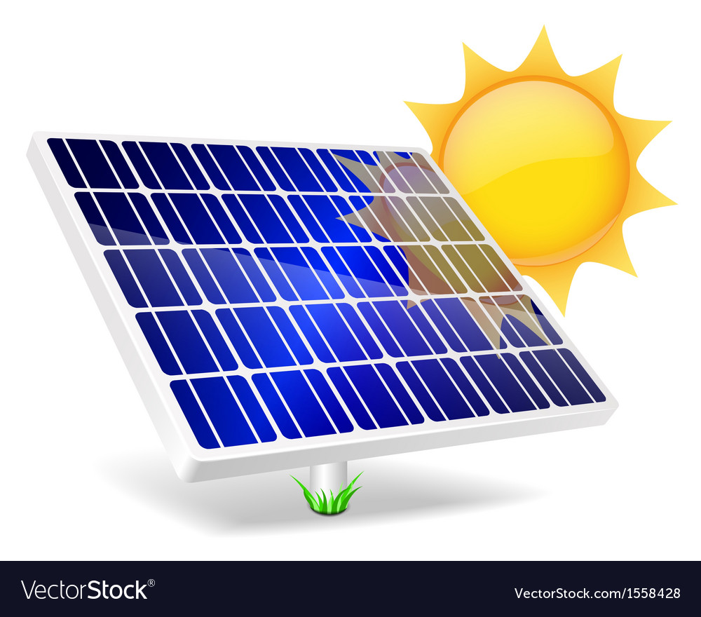 Solar panel and sun vector | Price: 1 Credit (USD $1)